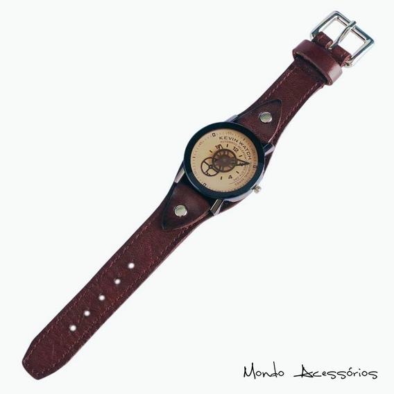 Relógio Marrom Retro Hipster Kevin Watch Em Aço Inox E Couro