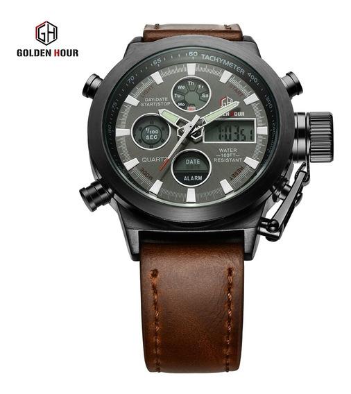 Relógio Masculino Golden Hour Militar Pulseira De Couro