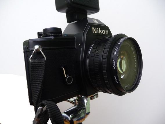 Câmera Nikon Em Analógica - Corpo E Lente - No Estado