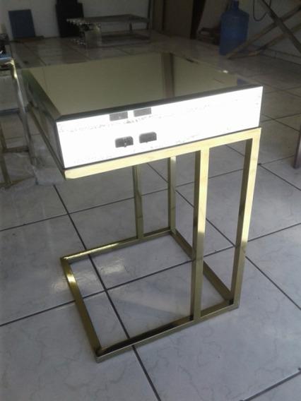 Mesa De Canto Aço Inox Dourado Tampo Em Espelho Bisotê