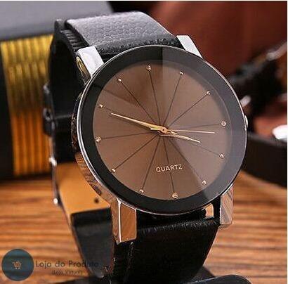Relógio Feminino De Luxo Quartz Pulseira Em Couro Lindo