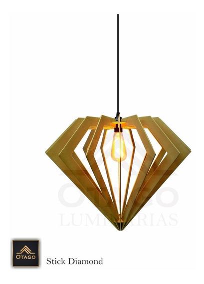 Lustre Pendente Em Madeira Stick Diamond 42x52 Cm