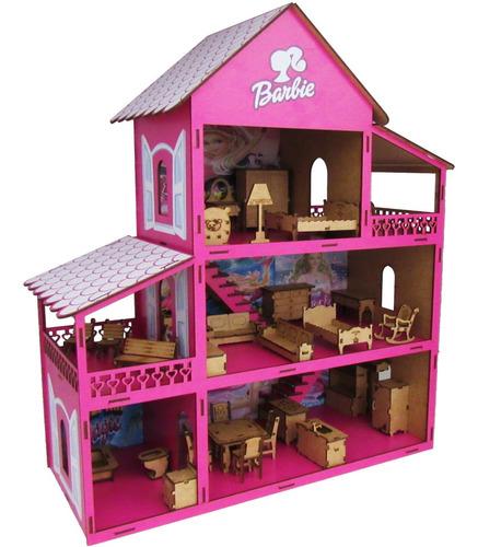 Casinha Casa De Boneca Barbie Mais 30 Móveis Tudo Já Montado