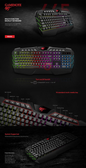 Teclado Gamenote Kb465l Havit Rgb