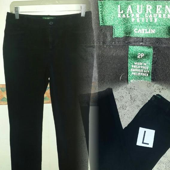 Pantalon Negro Elastizado Ralfh Lauren.t L.ideal Chica Baja