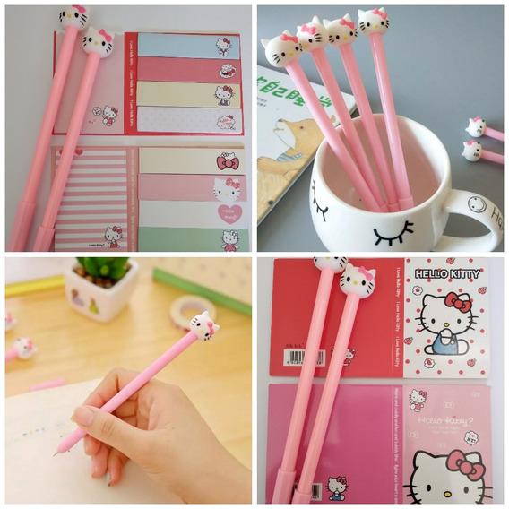 Kit Hello Kitty 2 Post Tipo Memo + 2 Canetas Kawaii Fofos