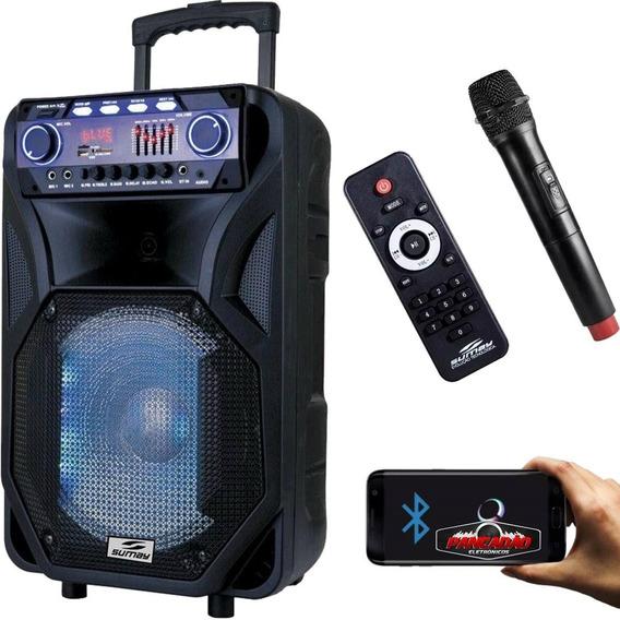 Caixa Som Amplificada 400w Bluetooth Microfone S/fio Bateria