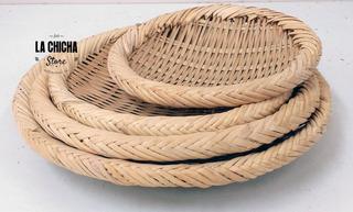 Set De Bandejas Paneras Bamboo Bambu Vietnam Cestas X4