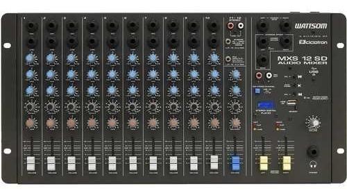Mesa De Som 12 Canais Usb In Estéreo Digital Player Mxs-12sd