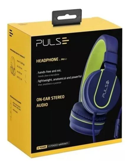 Fone De Ouvido Headphone Pulse Ph162 C/ Microfone Azul Verde