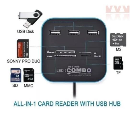 Hub Usb E Leitor De Cartões 3 Portas Usb 2.0 - Macbook E Pc