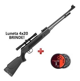 Carabina De Pressão Fixxar Black 5.5 + Luneta 4x20 Brinde + Chumbinho