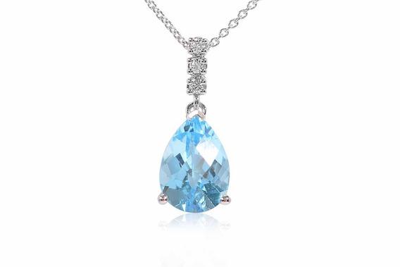 Gargantilla Topacio Azul Con Diamantes En Oro De 18k (34411)