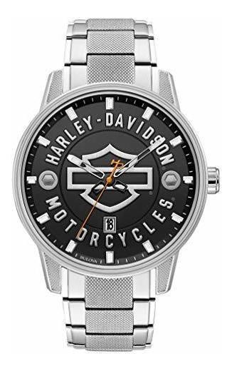 Harley-davidson Reloj De Acero Inoxidable Con Barra Abierta