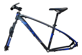 Kit De Aluminio Quadro 19x29 Guidao Selim Garfo Azul 4284