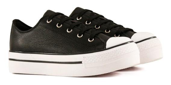 Zapatillas Con Plataforma De Cuero En Negro