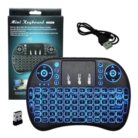 Mini Teclado Luminoso Touchpad Wireless Usb Smart Tv Ps3 Xbox Netflix - Barato