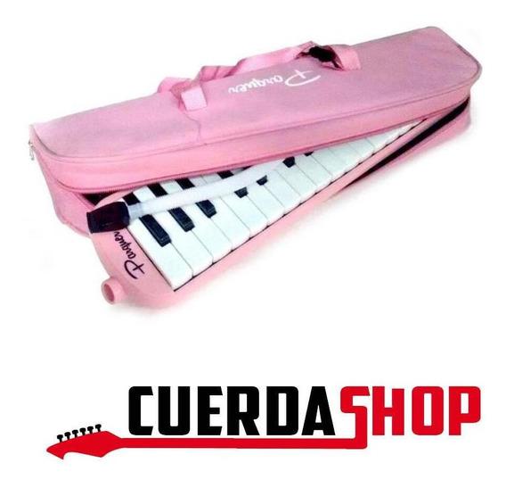 Flauta Melódica Escolar 32 Notas C/ Funda Color Rosa