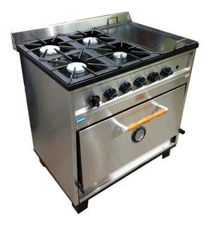 Cocina Industrial Tecnocalor 4 Hornallas + Plancha 87 Cm