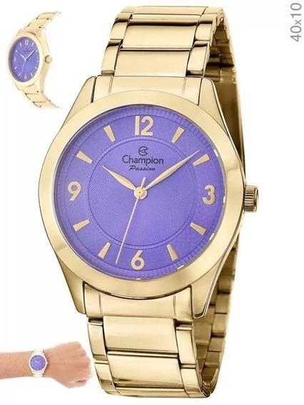 Relógio Champion Feminino Cn28866x Dourado + N. Fiscal