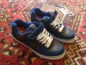 Tênis Dc - Azul E Marrom - Original. Semi-novo. Skate Casual