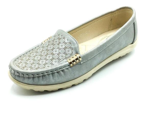 Zapatos Mujer Mocasines Gris Bajos Oxfords Ultra Livianos