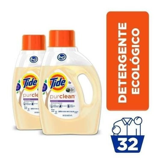 Pack X2 Detergente Tide Ecofriendly Purclean 1.47 Lt/32 Lav