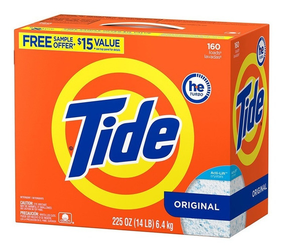 Detergente Tide He Polvo 6.4 Kgs 160 Lavadas