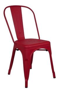 Silla Tolix Reforzada Roja Metalica Interior Exterior Deco