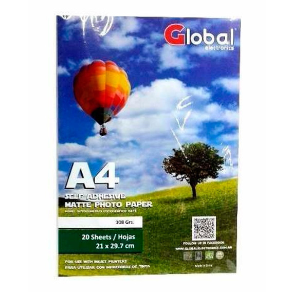 Papel Global Autoadhesivo Foto A4 Mate A4 X 20 Hojas 108gr