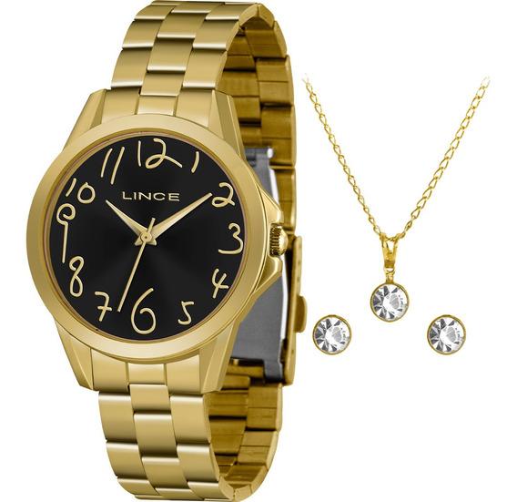 Kit Relógio Feminino Lince Com Colar E Brincos Lrgh124lkx36p