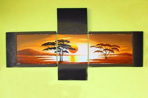 Quadro Decorativo Pintura Á Mão 150x80 - Pôr Do Sol