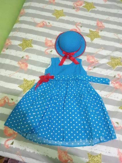 Vestido Azul De Bolinhas Tam. 2