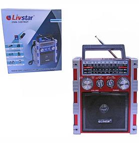 Radio Recarregavel 5w Bivolt Com Lanterna Usb Sd Fm Am Sw