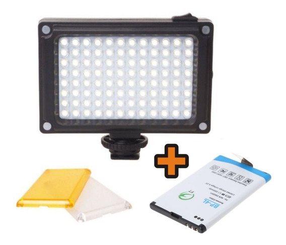 Iluminador Led 96 Lâmpadas Câmera Filmadora Com Bateria Bp4l
