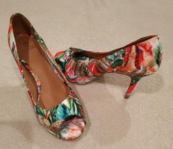 Peep Toe Estampa Verão Da My Shoes Original - 36 - Meia Pata