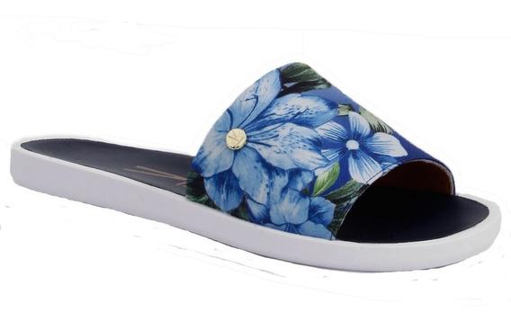 Chinelo Slide Feminino Vizzano Cetim Estampa Floral Tropical