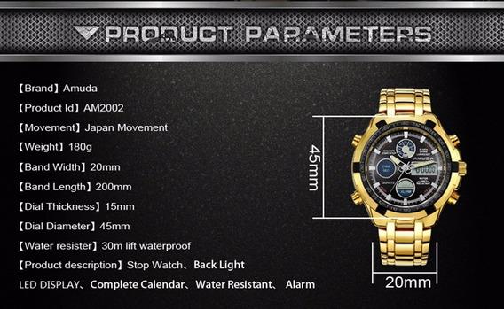 Relógio Militar Masculino Dourado Mostrador Preto De Luxo!