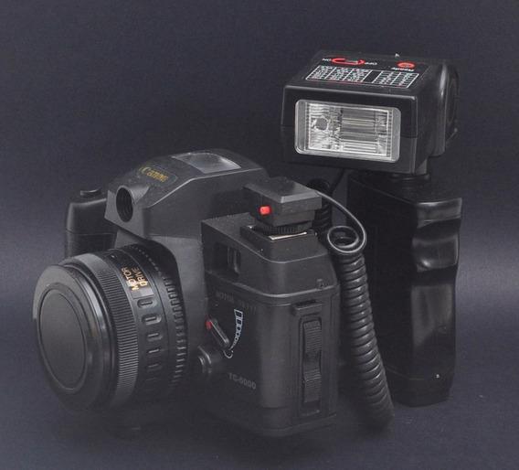 Câmera Analógica Canon Tc 5000 Com Flash E Lente- Raridade