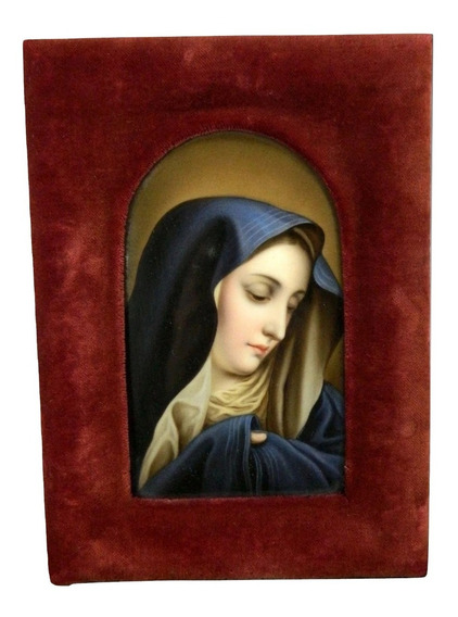 Antigua Placa Porcelana Alemana Virgen Dolorosa Carlo Dolci