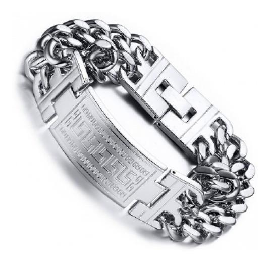 Bracelete Pulseira Masculina Grossa Cor Prata