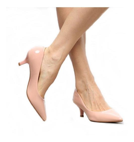 Sapato Scarpin Salto Médio Baixo 6,5cm Cor Caramelo Verniz