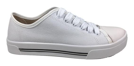 Tênis Branco Baixo Preto Feminino Lona Conforto Moleca