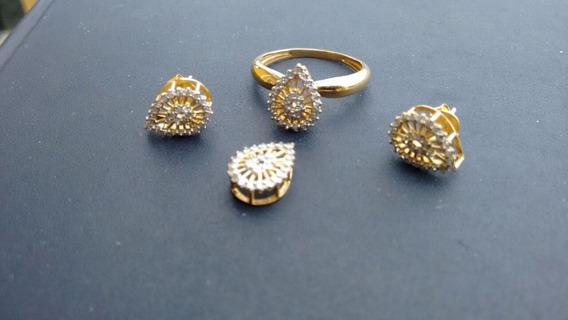 Ouro Com Pequenos Diamantes - Conjunto