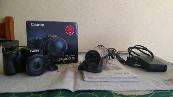 Câmera Canon- Power Shot Sx400 Is E Filmadora Panasonic Sdr