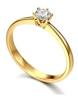 Anel Solitário Ouro Noivado Casamento Aniversario 18k-750