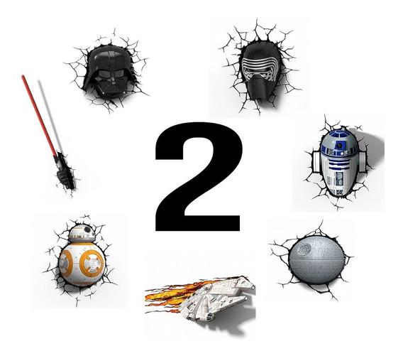 Kit 2 Luminárias Star Wars 3d - Darth, Kylo, Bb8 E Muito