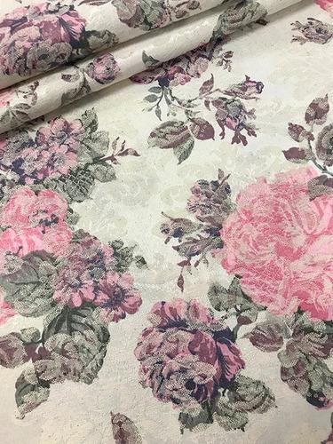 Imagem 1 de 3 de Tecido Para Almofada Jacquard Floral Florido Vintage 3m