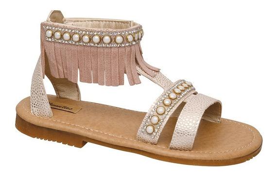 Sandalia Plumitas Tanger Para Niña Oro Con Perlas Y Flecos
