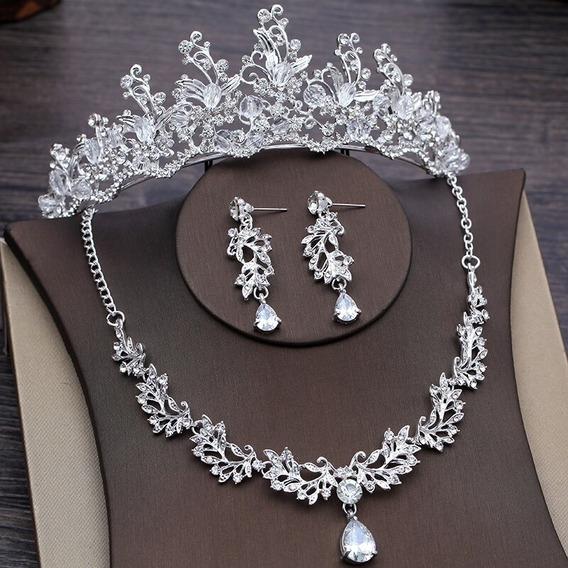 Corona Novias Collar Gargantilla Aretes De Cristal Xv Años